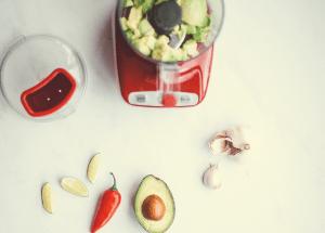blender with avocado