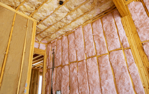 Fiberglass insulation in walls and ceilings